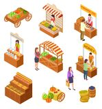Farmers market isometric. People sell and buy traditional meal, vegetables and fruit on food marketplace with stalls 3d vector illustration