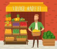 Farmers market. Local farmer shopkeeper. Royalty Free Stock Photo