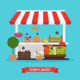 Farmers market. Local market Fruit and vegetables. Flat design m Stock Image