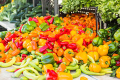 Farmers market. Local produce at the summer farmers market in the city royalty free stock photo