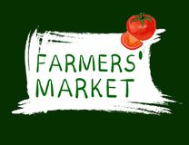 Farmers` market logo with tomato. Handdrawn VECTOR illustration stock illustration