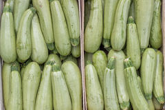 Farmers market marrows in a wooden crates, background Stock Photos