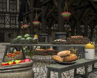 Farmers Market in a Medieval Marketplace. Farmers market with fresh seasonal fruit and vegetables in an old town square by a medieval market hall, 3d digitally Royalty Free Stock Photography