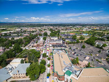 Farmers Market. Parker, Colorado, USA-June 28, 2015. Aerial view of farmers market on Main Street in Parker, Colorado royalty free stock image