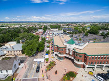 Farmers Market. Parker, Colorado, USA-June 28, 2015. Aerial view of farmers market on Main Street in Parker, Colorado royalty free stock photography