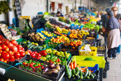 Farmers market. Porto, Portugal. Stalls with fresh vegetables and fruits at Porto market. Portugal royalty free stock images