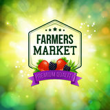 Farmers market poster. Blurred background with shining sun. Typo Stock Image