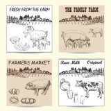 Farmers market poster. With hand drawn livestock animals food vector illustration Stock Images