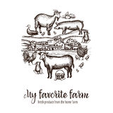 Farmers Market Poster. With hand drawn livestock animals food and village on background vector illustration Stock Photo