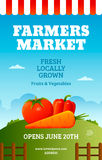 Farmers market poster. Template with vegetables. Fresh farm banner design. Vector illustration Stock Photography