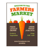 Farmers market poster. Template with vegetables. Vector illustration Stock Images