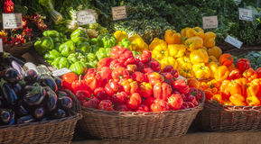 Farmers Market Produce Stand. Portland, Oregon, South Park Blocks Farmers Market produce of red,yellow and green Bell Peppers, eggplant  and chard Stock Photo