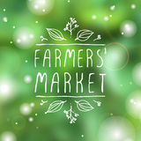 Farmers Market - product label on blurred Royalty Free Stock Photo
