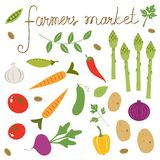 Farmers market set. Collection of fresh vegetables Stock Images
