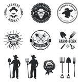 Farmers market set of labels badges emblems. Vector vintage illustration. Stock Image