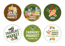 Farmers market stickers concept. Vector Illustration Stock Photography