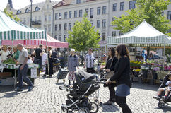 Farmers market Sweden Stock Photos