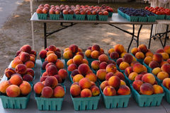 Farmers Market. Table at a Farmers Market with fruits and vegetables for sale Royalty Free Stock Image