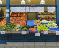 Farmers Market. Ts and Vegetables in Farmers Market Hall Budapest Royalty Free Stock Photography