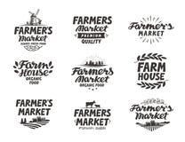 Farmers market, vector logo. Farm, farming icons set Stock Photos