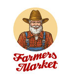 Farmers market vector logo or icon. Farmer in hat Royalty Free Stock Photography