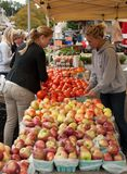 A woman makes a purchase of vegetables at a farmers market Royalty Free Stock Photography