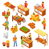 Farmers  Marketplace Isometric Set. Marketplace isometric set of food counters with farmers selling milk products natural honey homemade cheese fruits and Royalty Free Stock Images