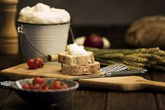 Farmers meal. Farmhouse produce on rustic table Stock Photography