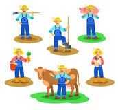 Farmers men and women working on farm. Farming characters standing in different poses. Vector flat illustration. Agrarian man figures with shovel, hoe, cow Stock Photography