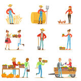 Farmers Men And Women Working At The Farm And Selling Organic Farming Vegetables On Natural Fresh Product Market. Set Of Cartoon Happpy Characters Growing stock illustration