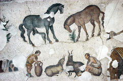 Farmers milking goats, mosaic, Istanbul Royalty Free Stock Images