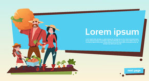 Farmers Parents And Daughter Gather Harvest Copy Space. Flat Vector Illustration stock illustration