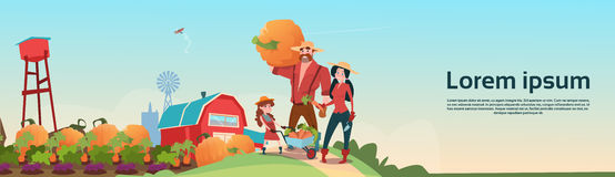 Farmers Parents And Daughter Gather Harvest Farm Background. Flat Vector Illustration stock illustration
