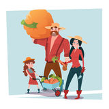 Farmers Parents And Daughter Gather Harvest. Flat Vector Illustration royalty free illustration