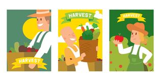 Farmers picking vegetable harvest to baskets and boxes set of cards, posters vector illustration. Female and male