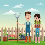 Farmers with pitchfork and pot plant field fence. Illustration Royalty Free Stock Photos