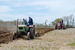 Farmers Plowing With Old Machines Royalty Free Stock Photography