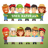 Farmers Presenting Horizontal Banner Royalty Free Stock Images