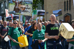 Farmers rally in Oslo. Norwegian farmers protest the Norwegian government's agricultural policies during a rally organized by the Norwegian Agrarian Association Stock Photos