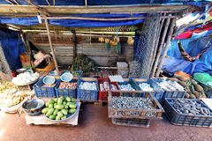 Farmers are selling their products such as eggs, vegetables and fish in Sunday market. Stock Photography
