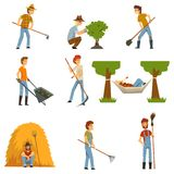 Farmers set, farm workers with gardening tools, gardeners at work vector Illustrations on a white background. Farmers set, farm workers with gardening tools Stock Image
