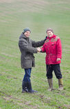 Farmers shaking hands Stock Photo