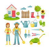 Farmers in suburban area, materials, clothing, equipment for work. Stock Images