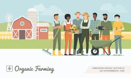 Farmers team working together royalty free illustration
