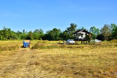 Tractors, plow-assisted machinery. Farmers in Thailand - The plow is an important machine to help plow, making farming fast and effective in the season Royalty Free Stock Photos