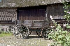 Farmers trolley stands for a farm in Gees. The Netherlands Stock Image