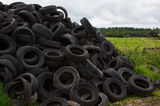 Farmers tyre dump in the countryside Royalty Free Stock Photo