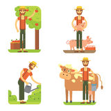 Farmers using agricultural tools. Set farmer vector illustration Stock Images