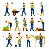 Farmers At Work Flat Icons Set Stock Photography