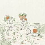 Farmers at work. The illustration describes the busy farmers working in the harvest time Stock Images